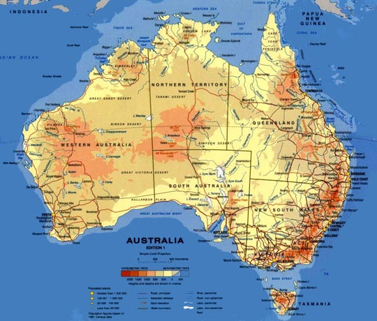 Full Map Of Australia.Topographic Map Of Australia At Wottodo Com Au
